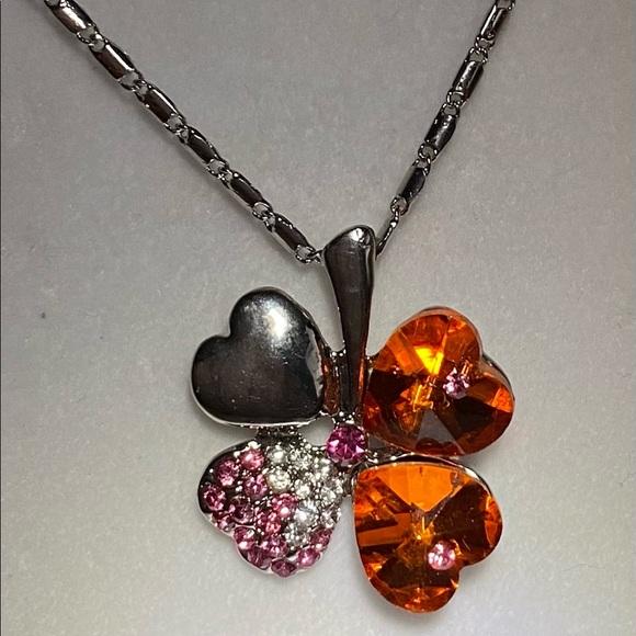 Orange Shamrock Necklace
